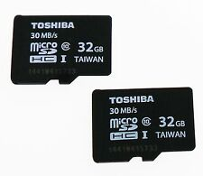 2 x Genuine NEW Toshiba 32GB Micro SD Card Class 10 SDHC-1 Flash Memory 30 MB/S