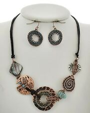 Western Silver Copper Patina Wire Wrapped Disk Shell Necklace Earring Set