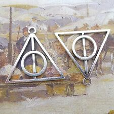 20 Tibet Silver Tone Alloy Triangle Round Deathly Hallows Charms Pendants 32mm