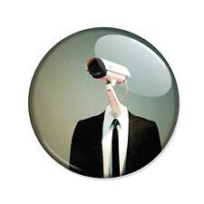 Badge SURVEILLANCE big brother Watcher Camera homme costume espion 1984 Ø25mm