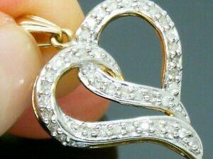 9ct Gold 0.25ct Diamond Love Heart Hallmarked Pendant