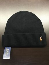 NEW Polo Ralph Lauren Men BLACK signature cuffed merino wool hat beanie