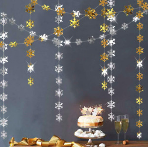 4 meter Christmas decoration hanging snowflakes bunting silver gold party