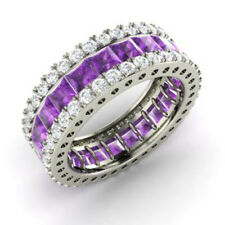 Real 14K White Gold 5.56 Ct Natural Diamond Amethyst Gemstone Ring Eternity Band