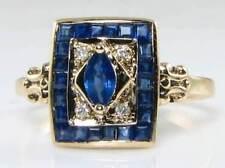 CLASS 9K 9CT GOLD BLUE SAPPHIRE & DIAMOND ART DECO INS RING FREE RESIZE