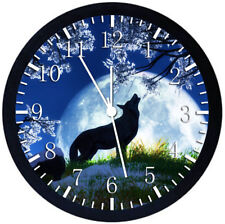 Wolf and The Moon Black Frame Wall Clock Nice For Decor or Gifts Y37
