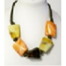 Stones and Matching Earrings Brown Necklace with Multicolor