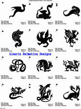 DRAGON SHADOWS & MORE (4x4) Multi-Format Machine Embroidery Designs on CD-Rom