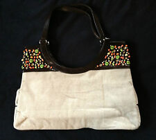 BRAND NEW - Stunning Khaki Linen and Stone Beadwork Bag Tote