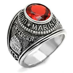 United States US Marine Corps Ring USMC Military Rings Surplus of Silver & Gold