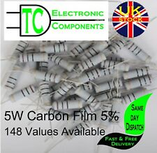 5 Watt Carbon Film Resistors 5% 148 Values available (2 Pack) **UK SELLER**
