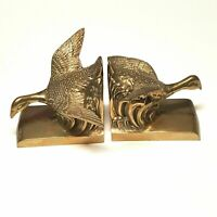 Vintage Duck Geese Bird Flying Bookend Brass Plated Birds In Flight Wings Out