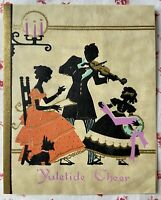 Vintage 1930s Deco Christmas Yultide Victorian Family  Silhouette Greeting Card