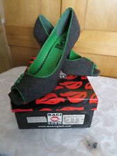 "BNIB Baci womens shoes Denim open toe green trim size 5 38 4"" heel spare heels"