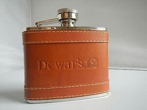 Flask - Pocket Flask - Dewar's 12 - Leather Flask - 4 Oz. Flask -  Scotch Flask