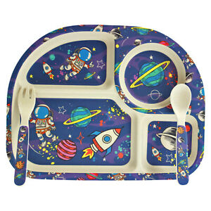 Eco-Friendly Bamboo Space Astronaut Kids Dinner Set Tray Plate Utensils Children