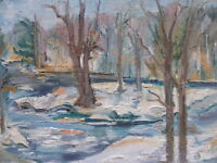 OIL ON CANVAS WINTER WONDERLAND ARTIST ISOBEL MARCUS FREE SHIPPING TO ENGLAND
