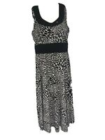 PERCEPTIONS New York Stretch Gathering Band Dress Size 10 Black White Beaded