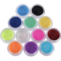 12 Box Nagel Kunst glitzer pulver staub für UV Gel Acryl Puder Pailletten Spitze