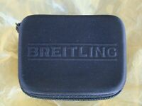 BREITLING SEMI RIGID BLACK ZIPPERED WATCH BOX STORAGE CASE W/ FOAM INTERIOR PAD