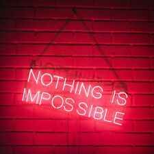 """New Nothing Is Impossible Bar Pub Logo Acrylic Neon Light Sign 20""""x7"""""""