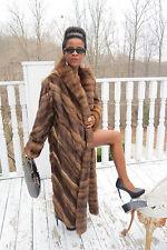 New Full length Swing Designer Mink &Genuine Russian Sable fur Coat M-L 8-14/16