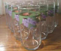 "10  Pfaltzgraff Garden Party 5 5/8"" Glassware Tumblers 2 3/4"" Across the Top...."