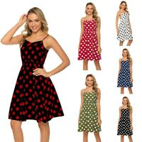 Women Boho Short Sleeve Polka Dot V Neck Midi Dress Ladies Summer Wrap Dresses