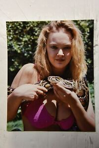8x10 inch photo of a blonde bikini babe holding a snake!