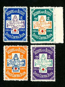 Red Cross France Stamps VF OG NH Set of 4 WWI Military Issues
