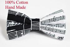 Men Black + White Sheet Music Notes Pattern 100% Cotton Hand Made Bow Tie Bowtie