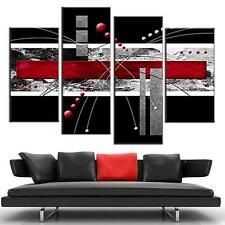 Abstract Red Black Canvas Print Art Modern Wall Giclee Painting Home Decor 4Pcs