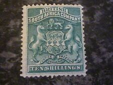RHODESIA BRITISH SOUTH AFRICA CO POSTAGE STAMP SG10 10/- DEEP GREEN NO GUM MM