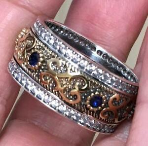 Blue Sapphire & Diamond Sterling 14K gold Men's Wedding band10 Etruscan Revival