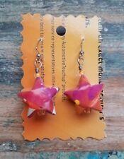 Handmade Recycled Orange & Pink Lucky Origami Stars Magazine Paper Art Earrings