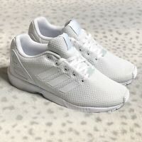 Adidas ZX Flux Running Shoes Sneakers Youth Boys Size 2.5 Cloud White Mesh
