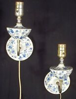 PAIR OF MID CENTURY 1950's WHITE CERAMIC SCONCES WITH BLUE FLOWERS
