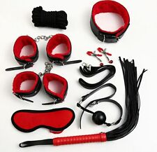 8pcs-Bondage-SM-Restraint-Set-Leather-Cuffs-Collar-Whip-Gag-Fetish-Couple-Toy