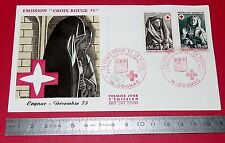 ENVELOPPE 1er JOUR PHILATELIE 1973 CROIX ROUGE ET LA POSTE COGNAC