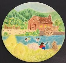 "1980 USA MIKE'S MOLD 9"" Hand Painted Ceramic Plate Mill Pond Swimmers Fishing"