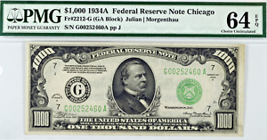 1934 $1000 Bill Federal Reserve Note Chicago Small Size PMG CU64 EPQ Fr2212-G