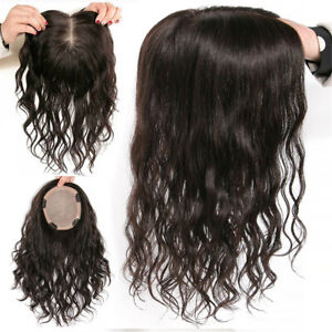 THICK 100% Remy Human Hair Curly Topper Hairpiece MONO Silk Base Hair Toupee