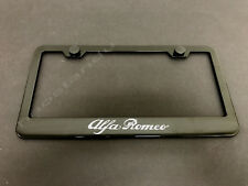 1x Alfa Romeo Black Stainless Metal License Plate Frame + Screw Caps (Fits: Alfa Romeo)