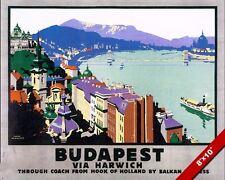 VINTAGE BALKAN BUDAPEST HUNGARY VACATION TRAVEL AD POSTER ART REAL CANVAS PRINT