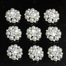 10pcs Pearl Crystal Rhinestone Buttons Flower Flatback Craft DIY Accessories