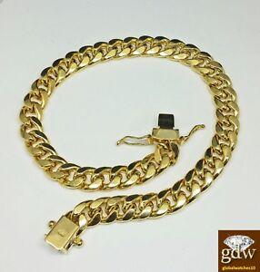 Real Gold Bracelet Men 10k Gold 8.5 inch Miami Cuban Link Custom Box Lock
