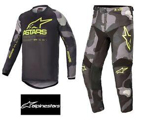 ALPINESTARS 2021 YOUTH RACER TACTICAL Motocross Jersey/Pants GREY CAMO/YELLOW