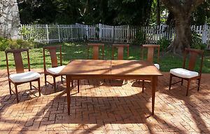RARE SET of SIX 60's  FINN JUHL ATTRIBUTED TEAK DINING CHAIR & DINING TABLE