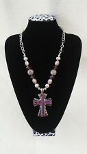 Womens Bling Rhinestone Bead Silver Tone Elegant Purple Cross Necklace.