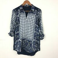 River Island 10 36 Scarf Print Navy Blue Blouse Shirt Collared Boho Baroque Zoom